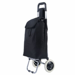 Portable Large Black Lightweight Shopping Push Pull Cart Wheel Travel Bag Handle