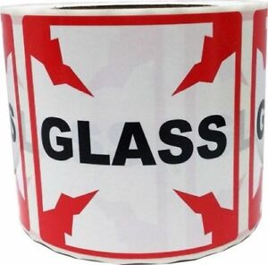 Fragile Glass Shipping Warning Labels 4 X 4 Inventory Warehouse Stickers 500