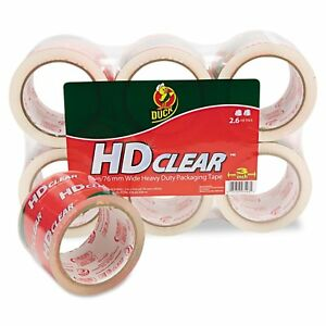 Duck Hd Clear Packaging Tape 2 6 Mil 3 Inches X 55 Yards Clear 6 pack