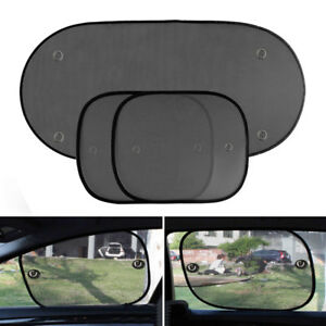 3pcs Auto Foldable Window Front Rear Side Sunshade Sun Shade For Car Visor Mesh