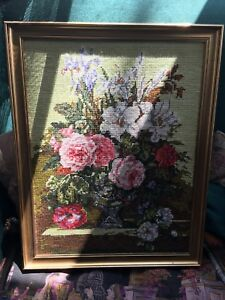 Hand Embroidered Flower Picture Professionally Framed