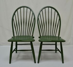 Pair Of Hand Painted Reproduction Beechwood Hoopback Windsor Side Chairs