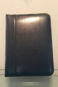 Barnes Noble Deluxe Black Leather Zip Around Business Portfolio New