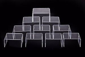 10 Pcs Clear Acrylic Display Risers Showcase For Jewelry 4 x 3 x 2 Lot Of