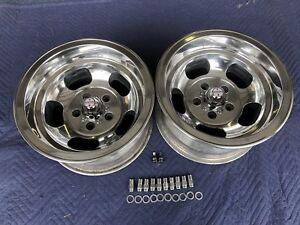 Vintage Pair 15x8 5 Sprint Us Indy Mag Polished 4 3 4 Caps Lugs Nice Chevy Van