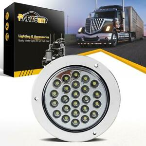 Sealed 24led White 4 Round Trailer Truck Backup Reverse Light W Chrome Ring 12v