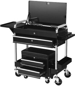 Mechanics Tool Cart Chest Rolling Seat Automotive Storage Utility Drawer Secure
