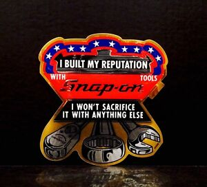 Vintage 1980s Snap On Tools Gold Foil Built My Reputation Decal 6x6 Sticker