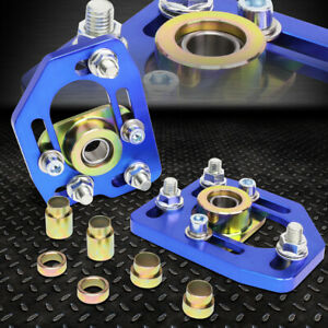 For 90 93 Ford Mustang Front Adjustable 3 0 Camber 2 0 Caster Plates Blue