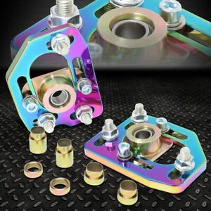 For 90 93 Ford Mustang Pair Front Adjustable Camber caster Plates Neo Chrome
