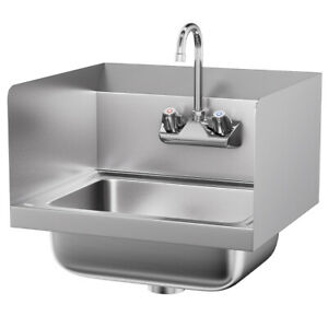 Ironmax Stainless Steel Hand Washing Sink Nsf Commercial W Faucet Side Splashes