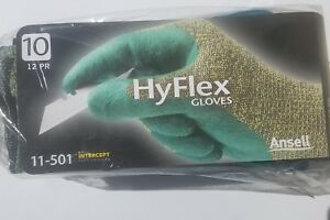 Ansell Hyflex Gloves 11 501 Size 10 Nitrile Blue green Color 12 Pairs