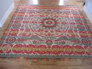 Woven Coverlet Star Red Green Gold Eagle W Fringe 81 X77 Antique