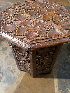 Antique Anglo Indian Carved Octagonal Folding Side Table 12 Top 12 5 Tall