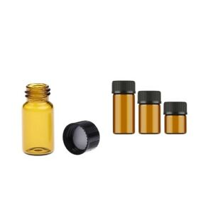 3 10ml Glass Oil Reagents Refillable Sample Bottle Brown Glass Vials 100pcs