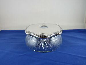 Antique Cut Crystal Glass Intl Sterling Silver Lid Hair Receiver Vanity Jar