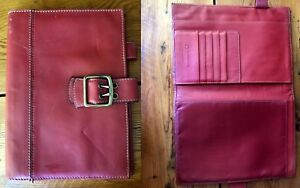 Franklin Covey Red Leather No Ring Planner Binder Note Pad Holder Buckle