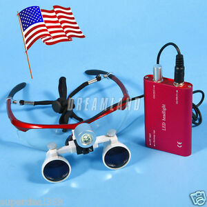 Usa Dental Surgical Loupes Glasses 3 5x Led Head Light Lamp Battery Ra Hot