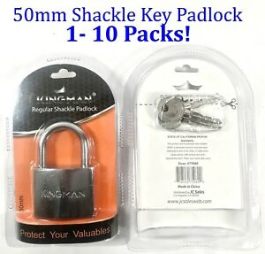 50mm Shackle Padlock Steel Keyed Key Lock Garage Locker Gym 3