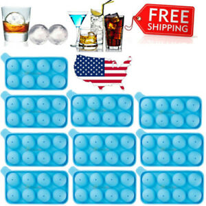 Round Ice Balls Maker Tray 8 Large Sphere Molds Bar Cube Whiskey Cocktails