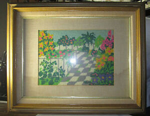 Folk Art Needle Point Garden Patio Scene Framed Matted Glass Hand Made Picture
