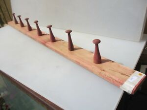 Vintage Wooden Coat Rack Hat Hangers Hooks French Old Farmhouse Rustic 41 5 W