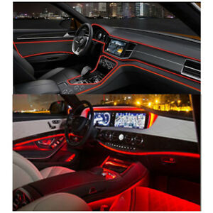 Universal Car Auto Interior Led Decor Wire Strip Atmosphere Cold Light Red 4m E
