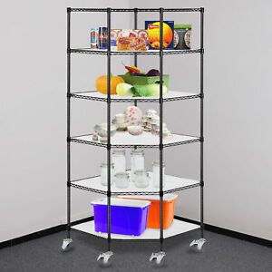 6 tier Wire Corner Shelving Adjustable Heavy Duty Rack Corner Unit Storage Shelf