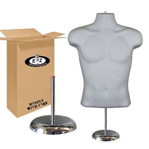 White Male Hollow Back Torso Mannequin Display W 8 Deluxe Metal Base