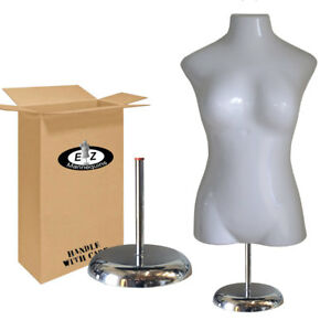 Large Bust Female Torso Body Form Mannequin W Deluxe Metal Base For Large Sizes