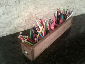 Rustic Wooden Craft office Supplies Holder