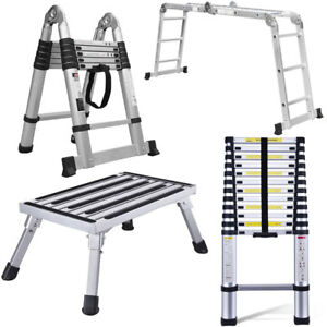 12 5ft Aluminum Telescopic Ladder Extension Foldable 11 68ft Multi purpose Fedex