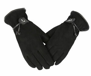 Fashion Woman Deerskin Suede Warm Gloves Touch Screen Cold resistant Black