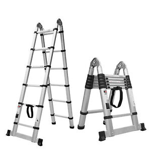 12 5ft Double Side Aluminum Multi purpose Telescopic Extension Folding Ladder
