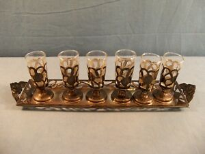 Set Of 6 Sterling Silver Glass Made In Mexico Cordials Shot Glasses W Tray