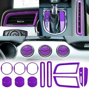 15x Aluminum Purple Interior Decoration Trim Cover For Ford Mustang 15 16 17 18