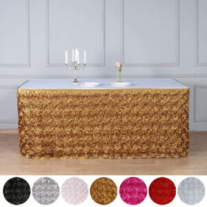 Satin Roses Banquet Table Skirt Dinner Catering Party Wedding Linens Decorations