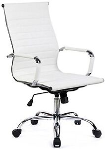 Office Chair Modern Ribbed Swivel Conference Leather Chair White