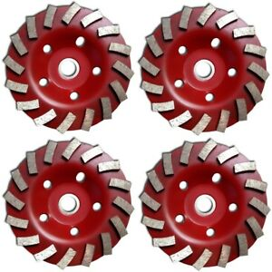 4 Pack 5 Inch 5 Diamond Segment Grinding Cup Wheel Disc Grinder Concrete Gran