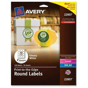 Avery Easy Peel Print to the edge Round Labels 2 Inches Glossy White Pa