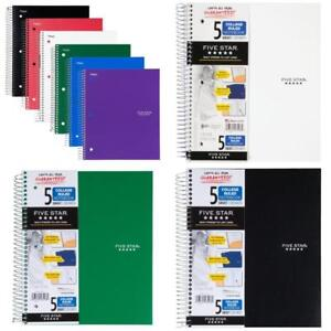 Five Star Spiral Notebooks 5 Subject College Ruled Paper 200 Sheets 11 X 8 1 2