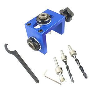 Woodworking Pocket Hole Locate Punch Jig Kit Step Drilling Bit Tools Set