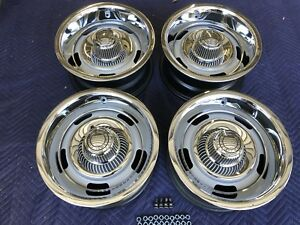 Rare Set 15x7 Small Ag 68 Corvette Rally Wheels With New Caps Rings Lug