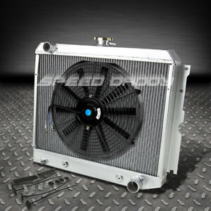 3 row Aluminum Racing Radiator 14 Fan For 70 73 Dodge Charger plymouth 318 5 2l