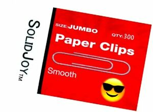 300 Jumbo Paper Clips By Solidjoy smooth Silver Finish Approx 2 Inches