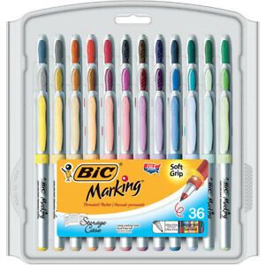 Bic Mark It Permanent Markers 36pk Ultra Fine Point Asstd Color Gpmup361