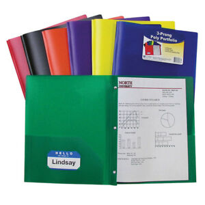 C line Two Pocket Poly Portfolios 36 box Assorted With Prongs 33960