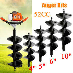 52cc Gas Post Hole Digger Fence Earth Digger 1 2 Man 4 5 6 10 Auger Bits
