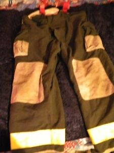 Firefighter Turnout Bunker Pants Black Bib W suspender W liner Halloween Costume