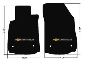 New Black Floor Mats 2014 2020 Chevy Impala Embroidered Bowtie Double Logo Pair